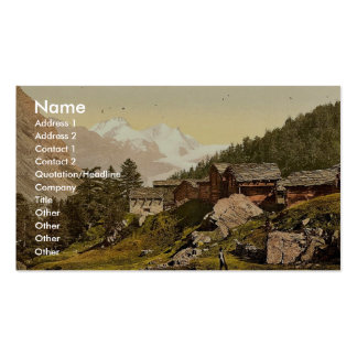 Staffel Alp and Rimpfischhorn, with chalets, Valai Business Cards