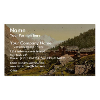 Staffel Alp and Rimpfischhorn, with chalets, Valai Business Card Template