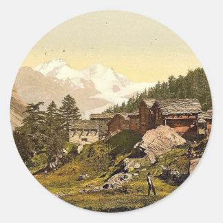 Staffel Alp and Rimpfischhorn, with chalets, Valai Classic Round Sticker