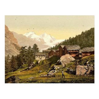Staffel Alp and Rimpfischhorn, with chalets, Valai Postcard