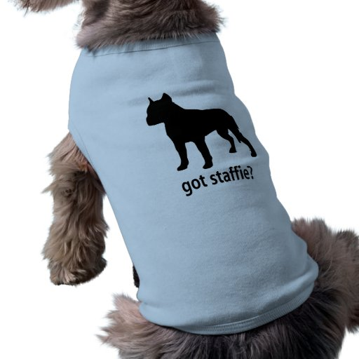 Staffie conseguido playera sin mangas para perro