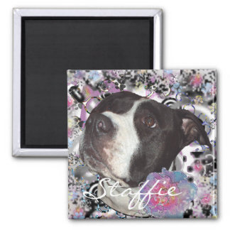 Staffie Girl 2 Inch Square Magnet