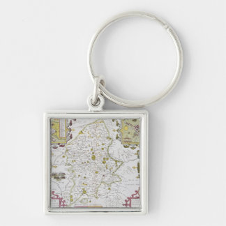 Stafford County and Town, engraved by Jodocus Silver-Colored Square Keychain