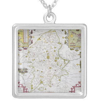 Stafford County and Town, engraved by Jodocus Silver Plated Necklace