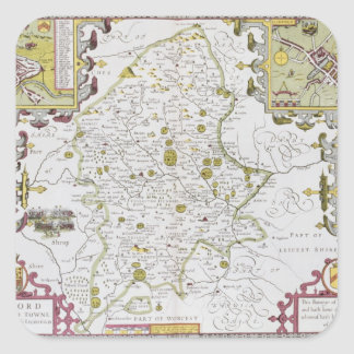 Stafford County and Town, engraved by Jodocus Square Sticker