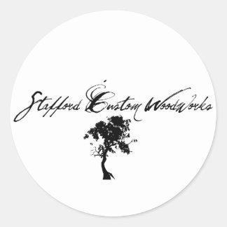 Stafford Custom Woodworks Logo Black & White Classic Round Sticker