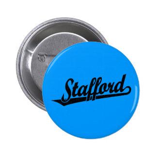 Stafford script logo in black distressed pinback button