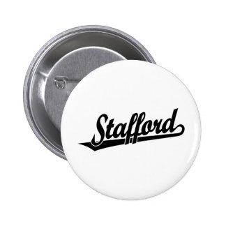 Stafford script logo in black pinback button