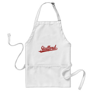Stafford script logo in red adult apron