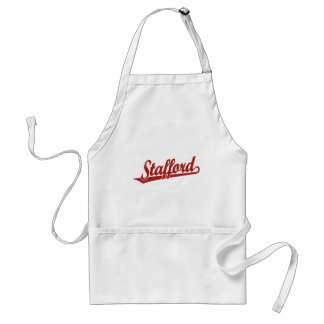 Stafford script logo in red distressed adult apron