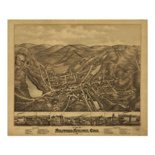 Stafford Springs CT1878 Antique Panoramic Map Posters