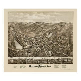Stafford Springs, CT Panoramic Map - 1878 Poster