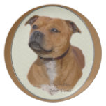 Staffordshire Bull Terrier Art Party Plates