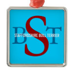 Staffordshire Bull Terrier Breed Monogram Metal Ornament