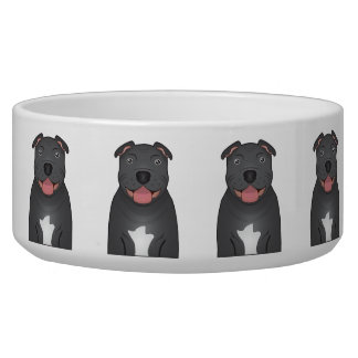 Staffordshire Bull Terrier Cartoon Pet Food Bowls