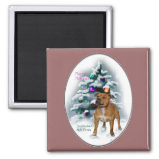 Staffordshire Bull Terrier Christmas Gifts Magnets
