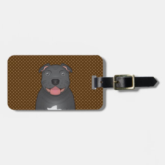 Staffordshire Bull Terrier Dog Cartoon Paws Tag For Luggage