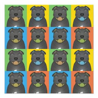 Staffordshire Bull Terrier Dog Cartoon Pop-Art Photograph
