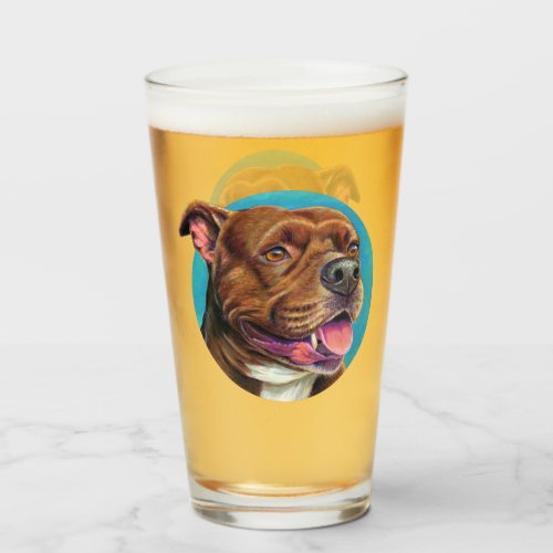 Staffordshire Bull Terrier Dog Glass Cup