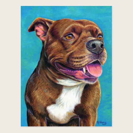 Staffordshire Bull Terrier Dog Painting Postcard