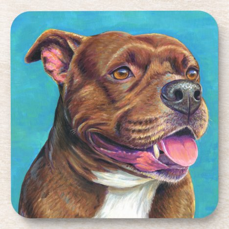 Staffordshire Bull Terrier Dog Plastic Coasters