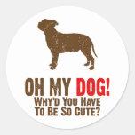 Staffordshire bull terrier etiqueta redonda