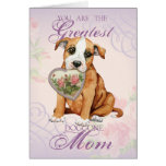 Staffordshire Bull Terrier Heart Mom Greeting Card