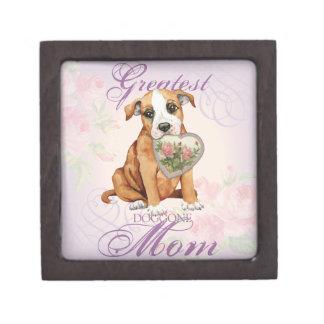 Staffordshire Bull Terrier Heart Mom Keepsake Box