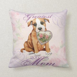 Staffordshire Bull Terrier Heart Mom Throw Pillow