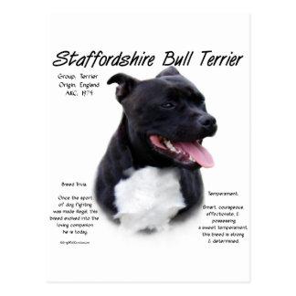 Staffordshire Bull Terrier History Design Postcard