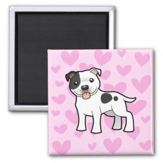 Staffordshire Bull Terrier Love 2 Inch Square Magnet