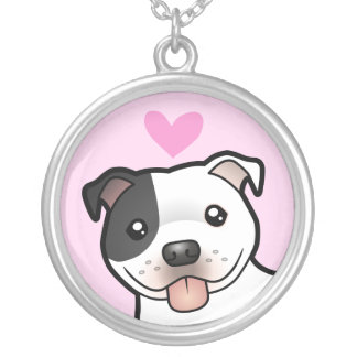 Staffordshire Bull Terrier Love Silver Plated Necklace