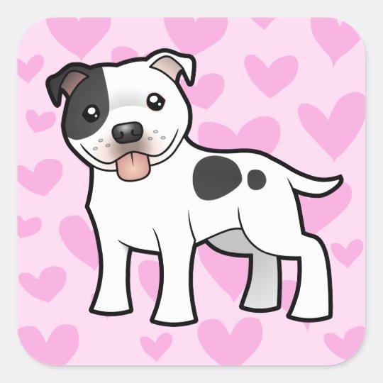 Staffordshire Bull Terrier Love Square Sticker