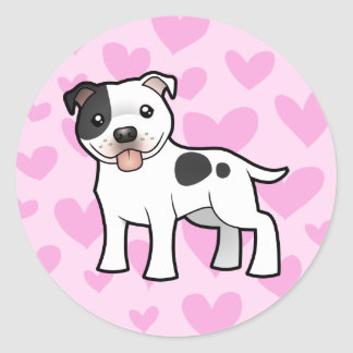Staffordshire Bull Terrier Love Classic Round Sticker