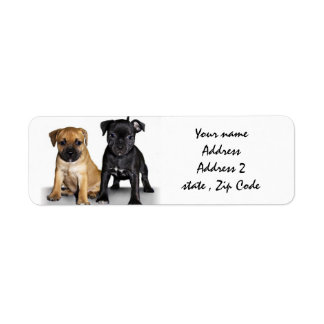 Staffordshire bull terrier puppies address labels