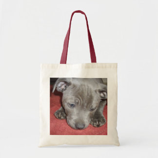 Staffordshire_Bull_Terrier_Puppy_Budget_Tote_Bag Tote Bag