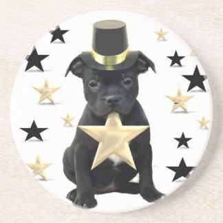 Staffordshire bull terrier puppy drink coaster