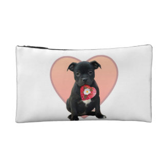 Staffordshire bull terrier puppy makeup bag