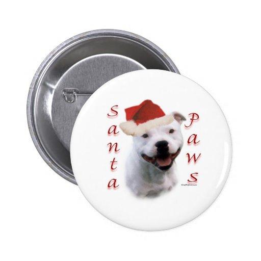 Staffordshire Bull Terrier Santa Paws Button