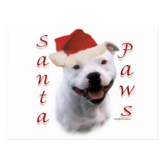 Staffordshire Bull Terrier Santa Paws Postcard