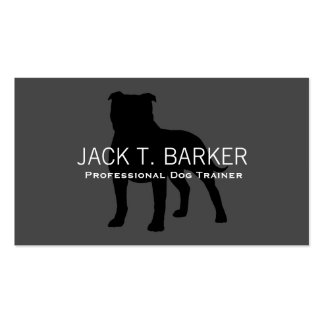 Staffordshire Bull Terrier Silhouette on Grey Business Card