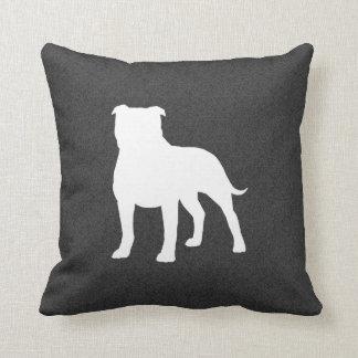 Staffordshire Bull Terrier Silhouette Throw Pillows