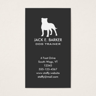 Staffordshire Bull Terrier Silhouette Vertical Business Card