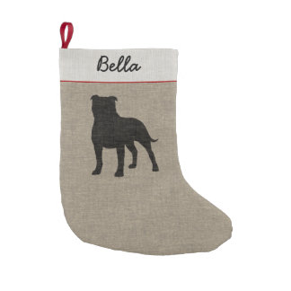 Staffordshire Bull Terrier Silhouette with Text Small Christmas Stocking