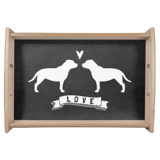 Staffordshire Bull Terrier Silhouettes Love Serving Tray