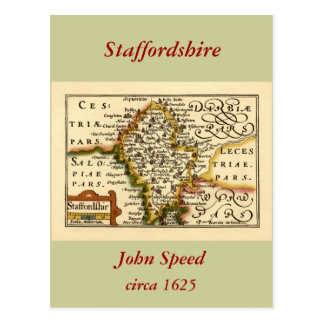 Staffordshire County Map England Postcards