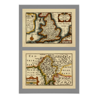 Staffordshire County Map, England Poster