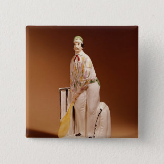 Staffordshire figure of a cricketer, 1865 button