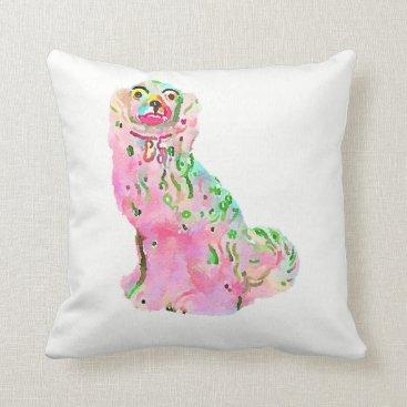 Beach Themed Staffordshire Spaniel Dog Chinoiserie Pillow