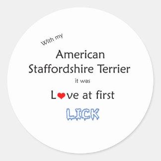 Staffordshire Terrier americano lame diseño Etiquetas Redondas